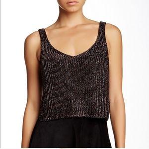 American Apparel Knitted Crop Top Rainbow Metallic